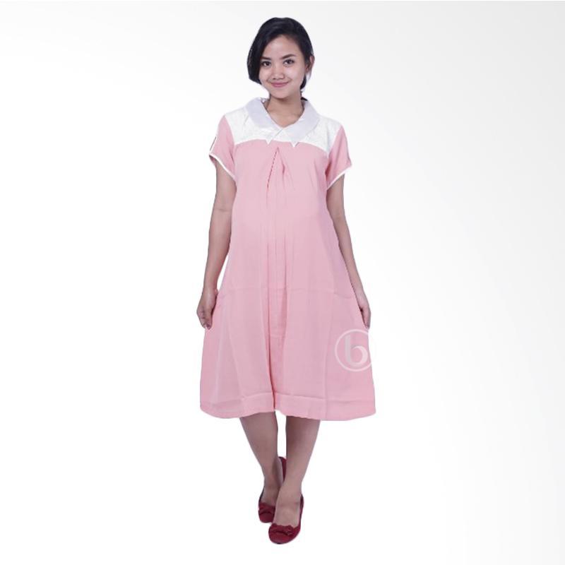 harga Mama Hamil DRO 869 Silk Brokat Shalsabila Dress Pesta Hamil Menyusui - White Pink Blibli.com