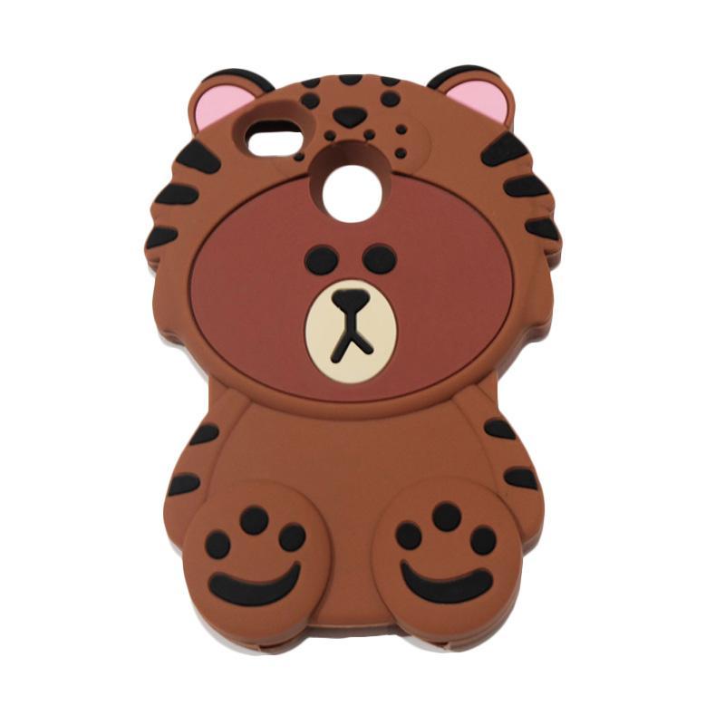 QCF 4D Karakter Beruang Kostum Singa Silicone Softcase Casing for Xiaomi Redmi 4X - Coklat