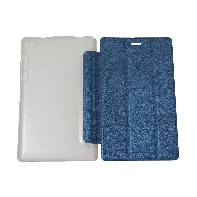 QCF Flip Cover Tablet Lenovo Tab 3 7.0 Inch Essential PB-710L Leather Case Dompet Tablet Lenovo PB 710L - Biru Tua