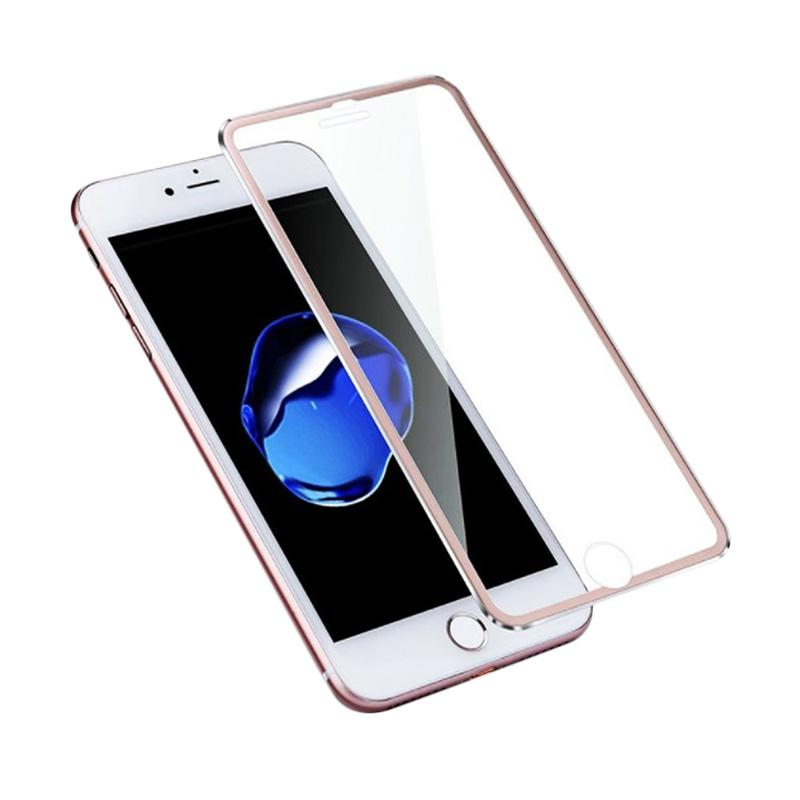 QCF Tempered Glass Ring Besi Aluminium Screen Protector for Apple iPhone 6 Plus / iPhone 6Plus / Iphone 6+ Ukuran 5.5 Inch Pelindung Layar - Rose Gold