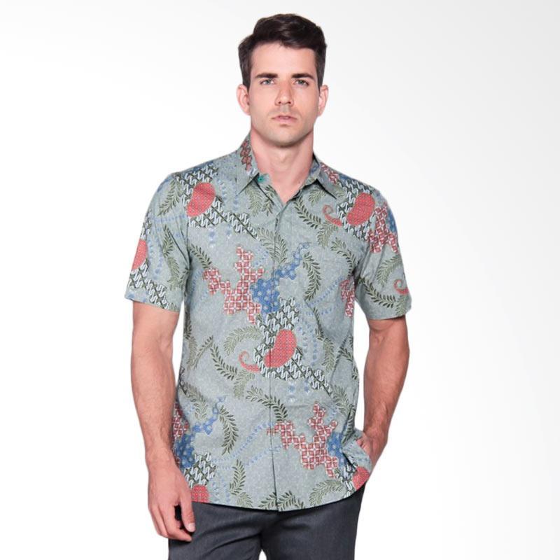 Batik Heritage Katun Premium Ekor Putri Slim Fit Kemeja Batik Pria - Abu Kehijauan