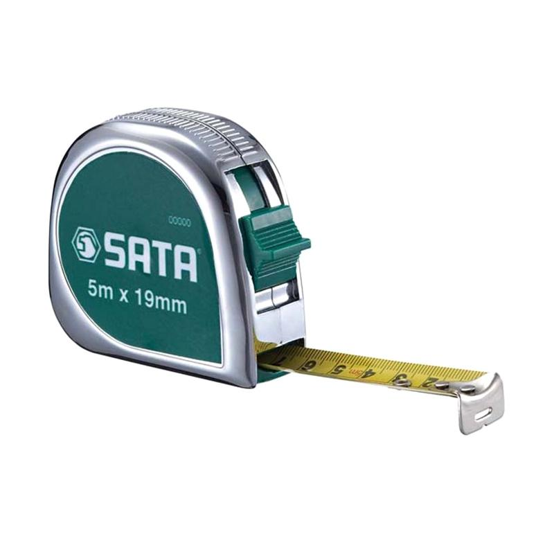 SATA 91312ME Chrome Tape Measure Meteran [5 meter x 19 mm]