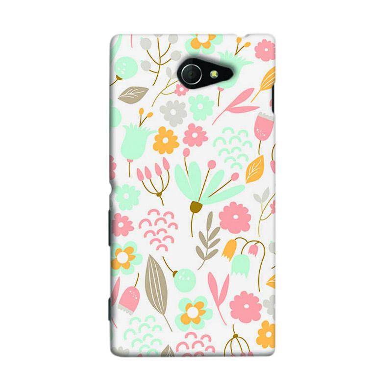 Premiumcaseid Cute Pastel Shabby Chic Floral Hardcase Casing for Sony Xperia M2