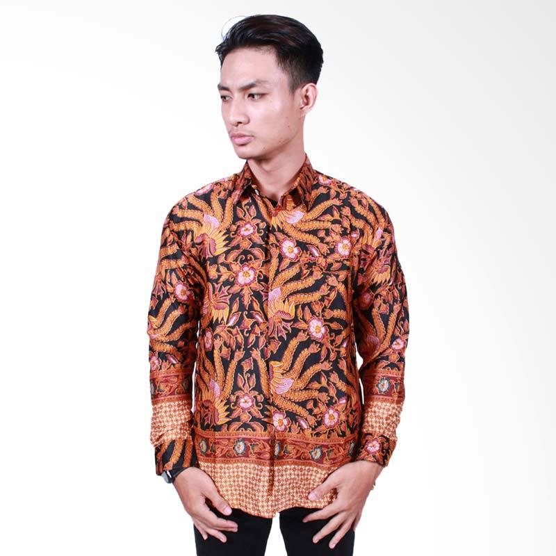 Batik Putri Ayu Solo Kemeja Batik Pria Lengan Panjang - Cokelat [KPJ501]