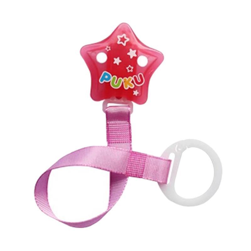 Puku 11115 Star Stripe Chain Pacifer - Pink
