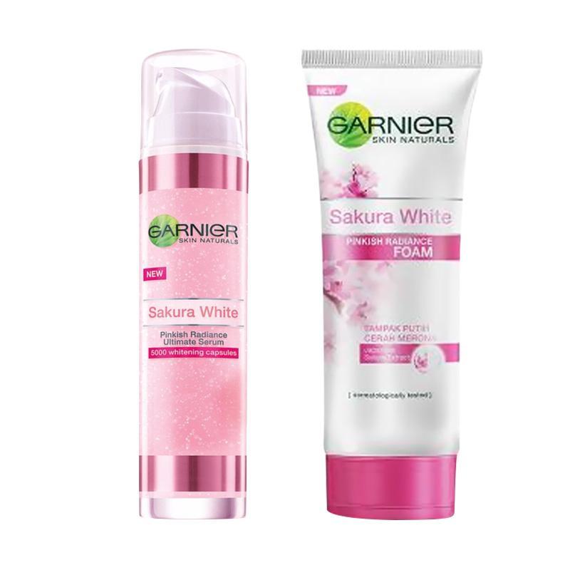 harga Paket Garnier Sakura White Ultimate Serum [50 mL] + Facial Foam [100 mL] Blibli.com