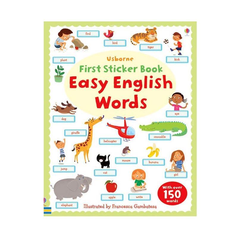 Genius Usborne First Sticker Book Easy English Words Buku Anak