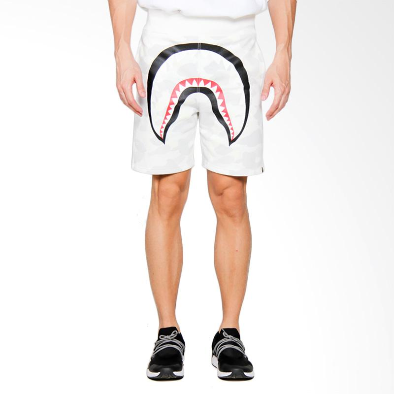 A Bathing Ape City Camo Shark Sweat Shorts Celana Pendek Pria - White