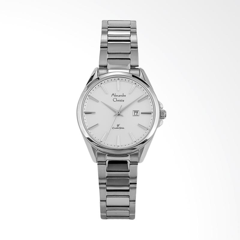 Alexandre Christie AC 8552 LD BSSSL Classic Stainless Steel Strap Jam Tangan Wanita - Silver White