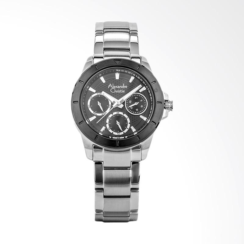 Alexandre Christie AC 6388 BF BTBBA Ladies Black Pattern Dial Jam Tangan Wanita - Silver