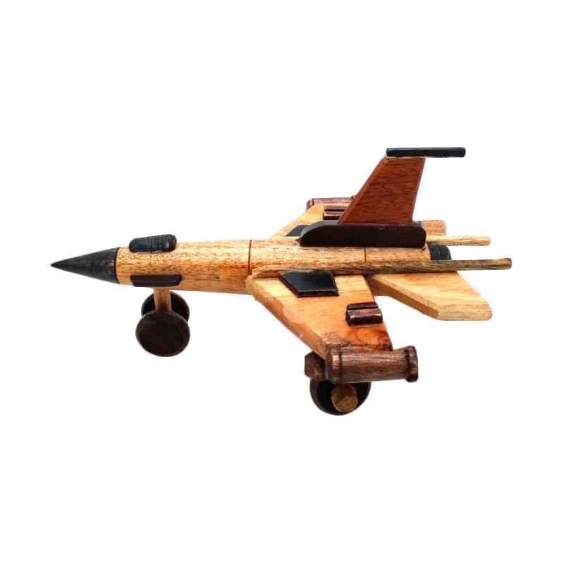 Handmade Miniatur Pesawat Tempur F16 Kayu Aksen Dekorative