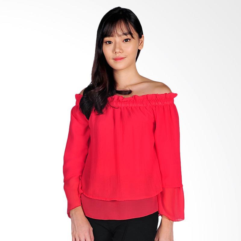 SJO & SIMPAPLY Shoulder Slash Women's Blouse - Pink