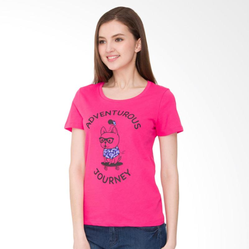 Bossini 02080109039 Short Sleeves R Nk Print Tee Bl:24 Atasan Wanita - Bt Fuchsia