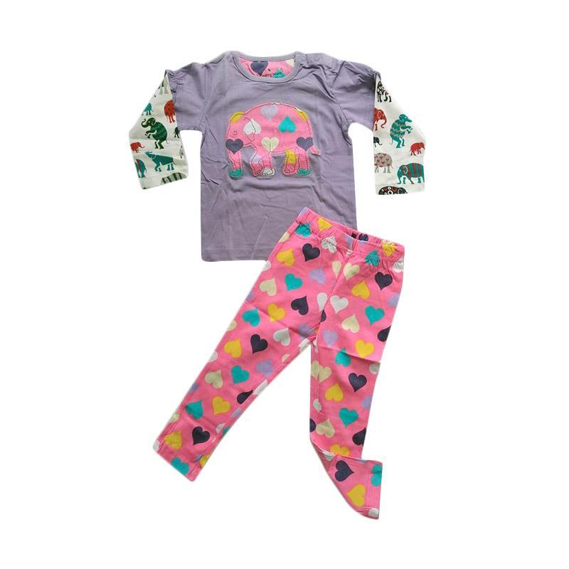 harga Jumping Beans JB Girls Elephant Love Long Tee And Legging Setelan Baju Anak - Pink Purple Blibli.com