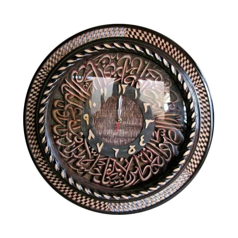 harga Ngasem Jam Ayat kursi Kayu Mahoni Kaliggrafi Dekorasi Dinding [Diamater 75 cm] Blibli.com