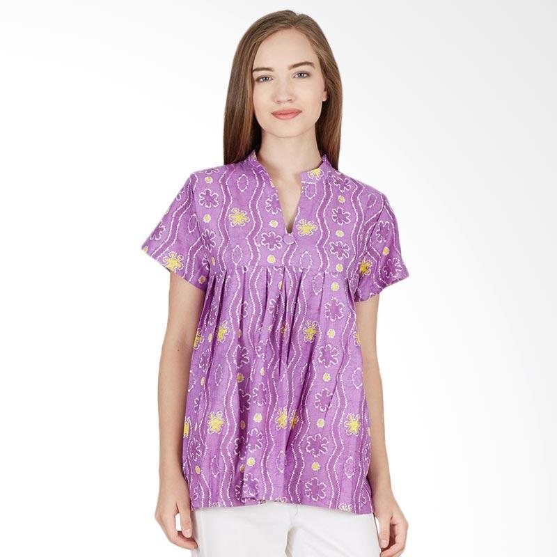 Winggo Etniq Batik Blus Atasan Wanita - Pastel Ungu
