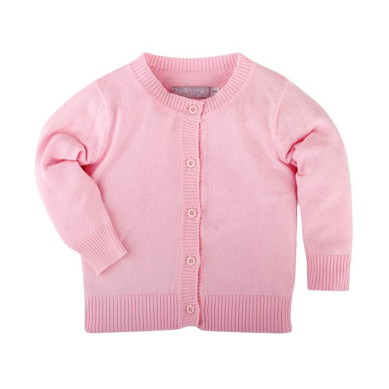 Hello Mici Baju Bayi Knitwear Baby Basic Cardigan - Pink