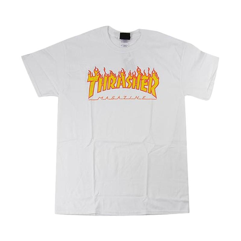 Thrasher Magazine Flame Logo T-Shirt Skate - White