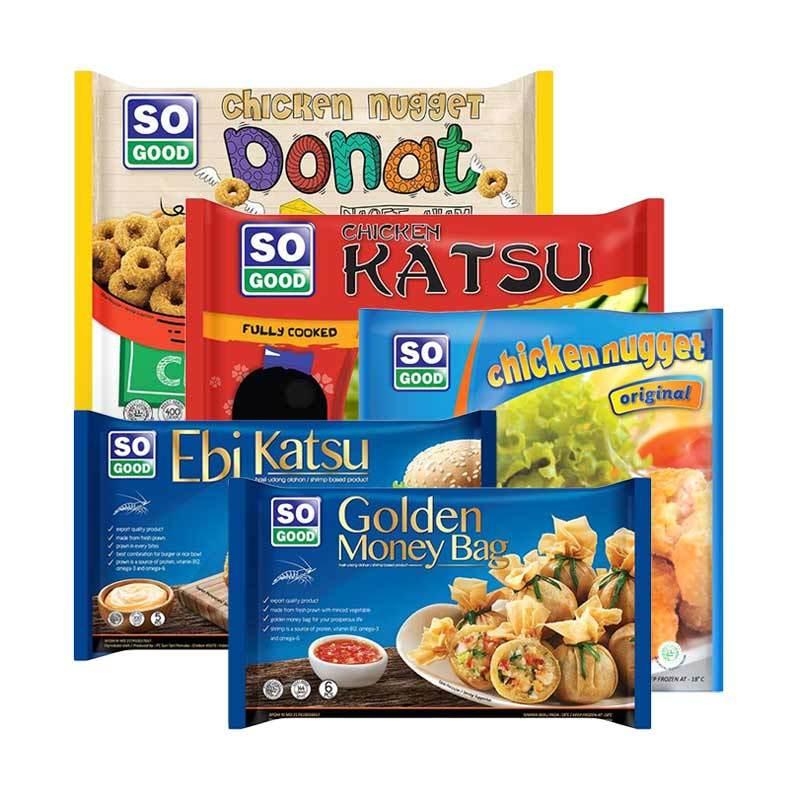 So Good Donat 400 g + Chicken Nugget 200 g + Ebi Katsu 200 g + Golden Moneybag 144 g + Katsu 400 g