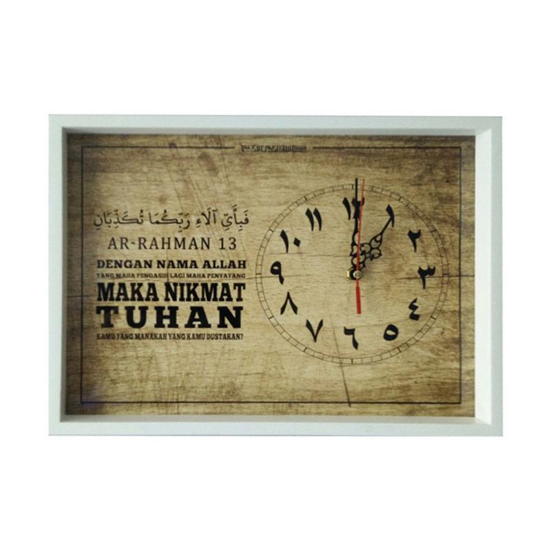 Tatomi Walldecor Kaligrafi Surat Ar Rahman 13 Wooden Hiasan Jam Dinding 30 X 40 Cm