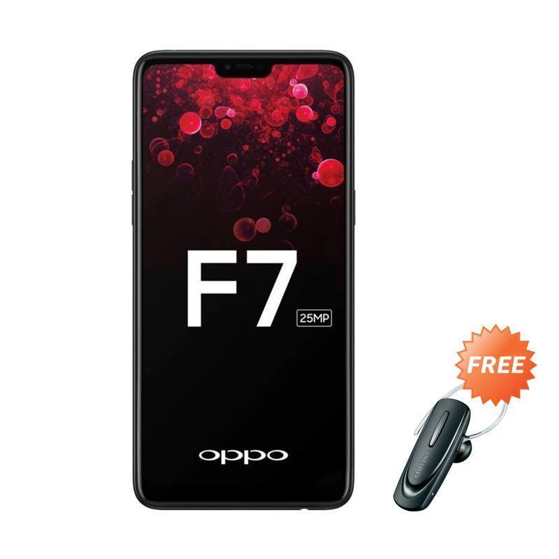 harga OPPO F7 Smartphone - Black [64GB/ 4GB] + Free Headset Bluetooth Blibli.com