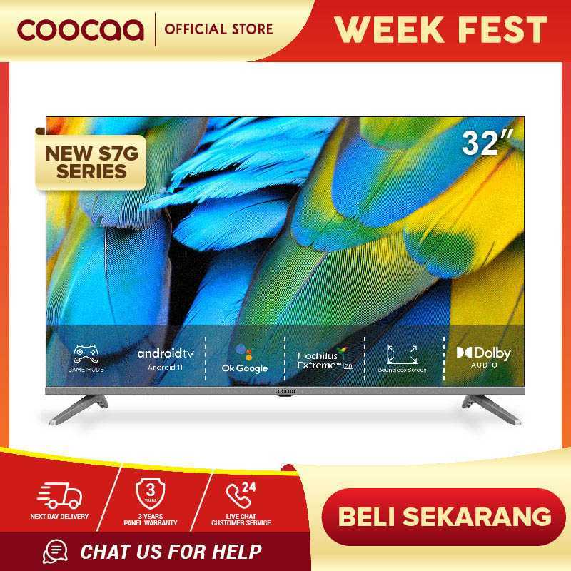 COOCAA LED TV 32 INCH - ANDROID 11.0 - Digital TV - 2.4G/5G WIFI (Coocaa 32S7G)