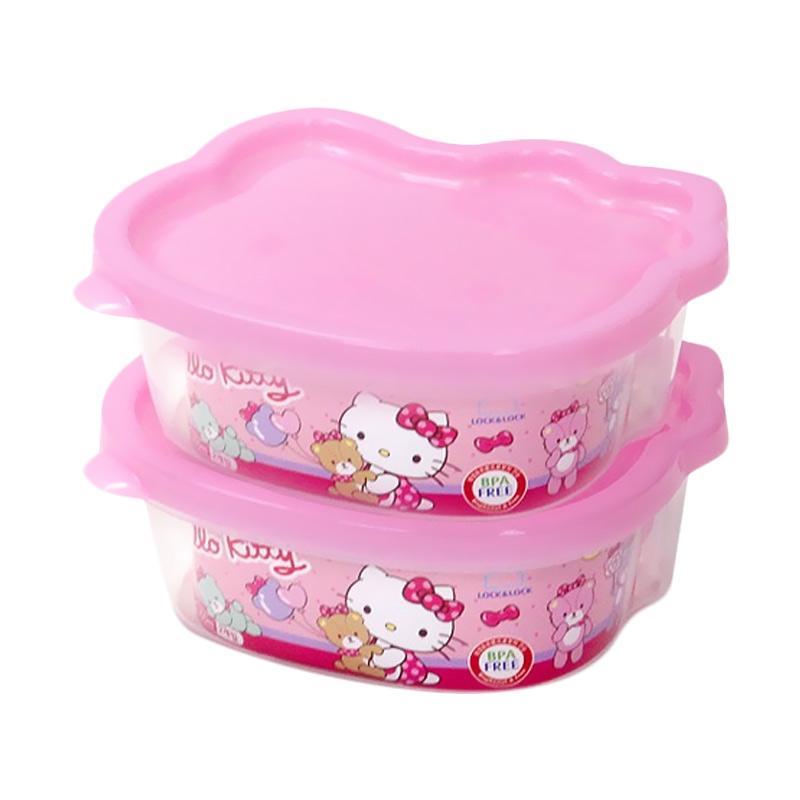 LocknLock Hello Kitty Mascot Food Container Tempat Makan Anak - Pink [470 mL x 2