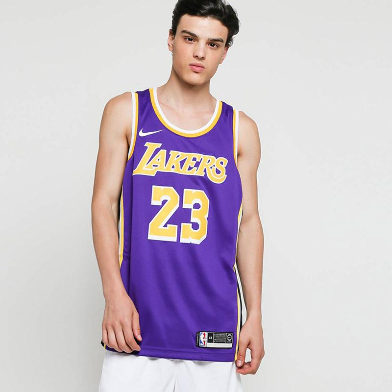 NIKE Men Basketball Los Angeles Lakers Lebron James Swingmen Jersey Pria Purple