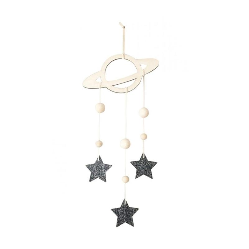 Fs Bluelans Nordic Saturn Stars Wooden Wall Hanging Kids Room Decor Ornaments Gold