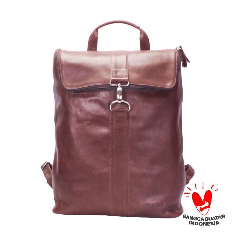 BUCINI Ade Large Dark Brown Backpack