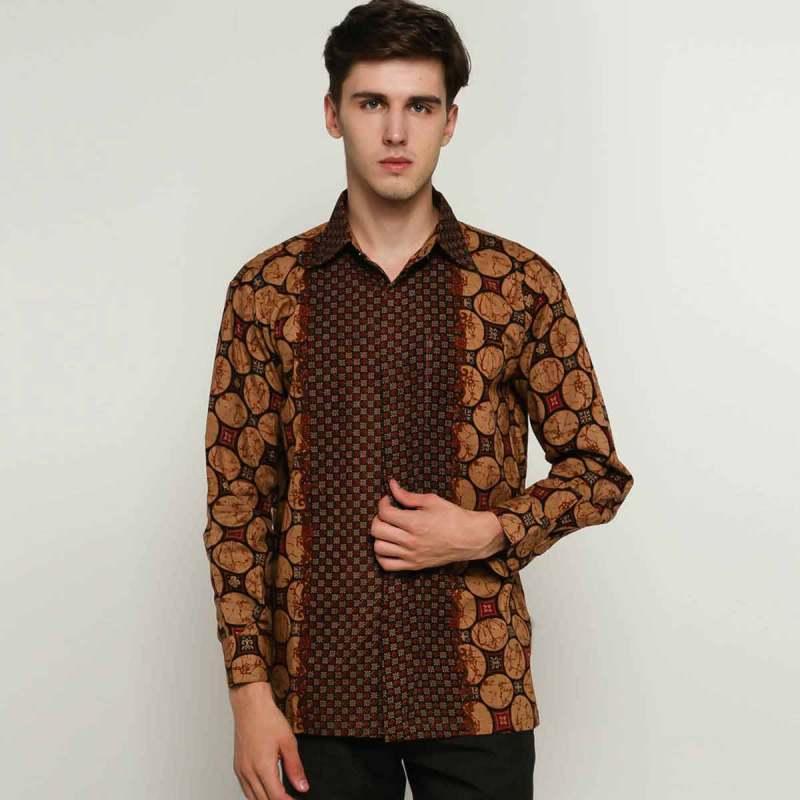 Blitique Batik LG SN Kemeja Pria Dark Brown