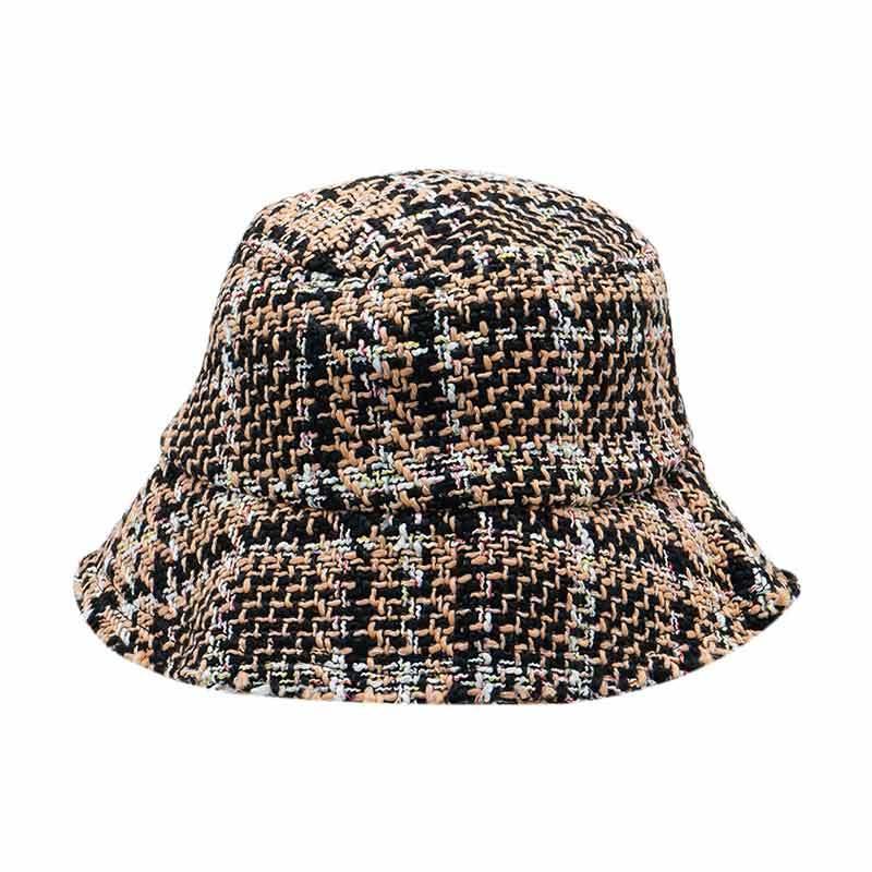 Ben Bella 001 Tweed Bucket Hat Topi Wanita Brown