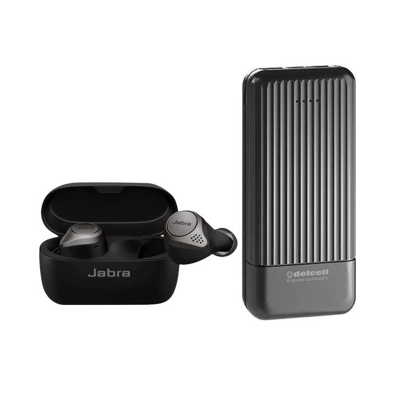 Jabra Elite 75t Earbuds - Black + Powerbank Delcell Tote