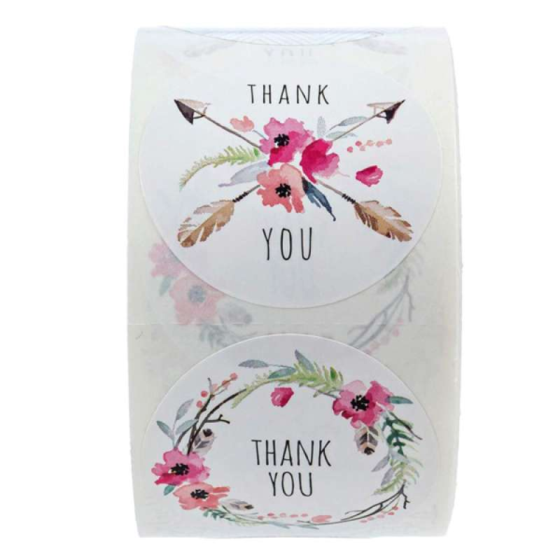 Jual 1 Round Floral Printed Thank You Stickers 500 Labels Per Roll Online Mei 2021 Blibli
