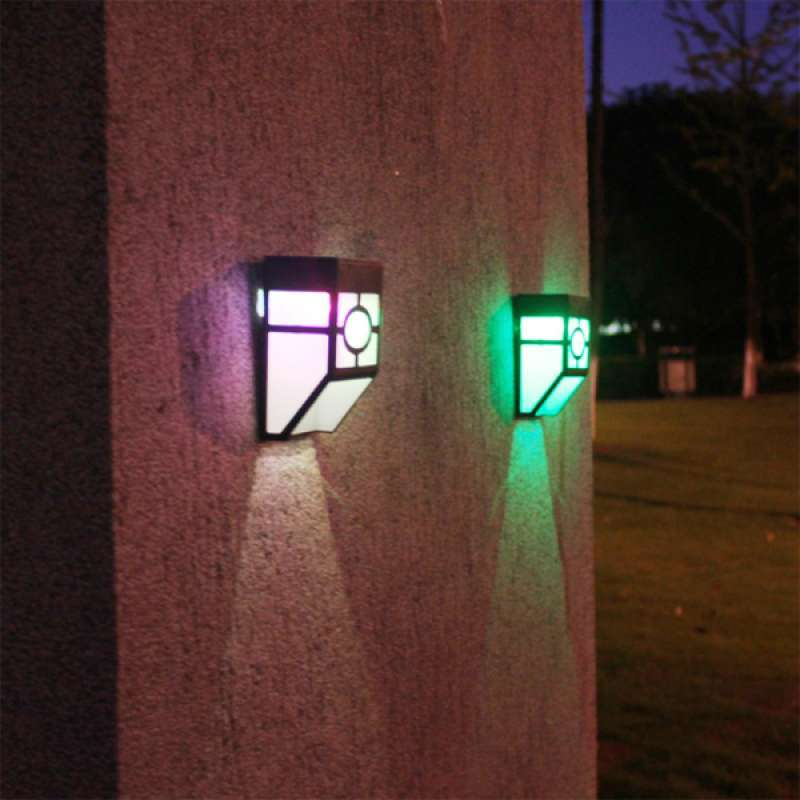 Jual Solar Powered Led Lights Outdoor Wall Mounted Waterproof Patio Colorful Lamp Online Januari 2021 Blibli