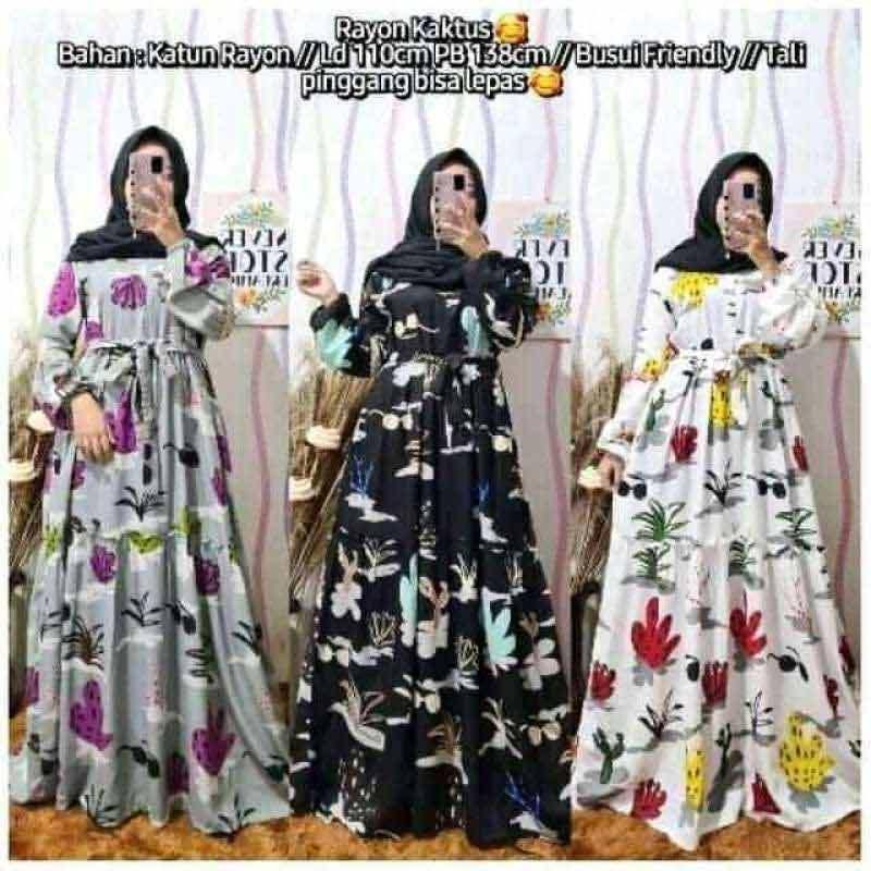 Jual Airissyshop Gamis Wanita Kaktus Bahan Katun Rayon Online Februari 2021 Blibli