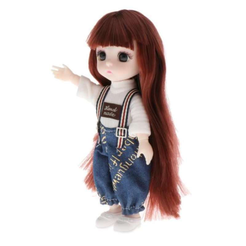 16cm BJD Doll 13 Ball Jointed Girl Eyes Face Makeup Wig Clothes Style6