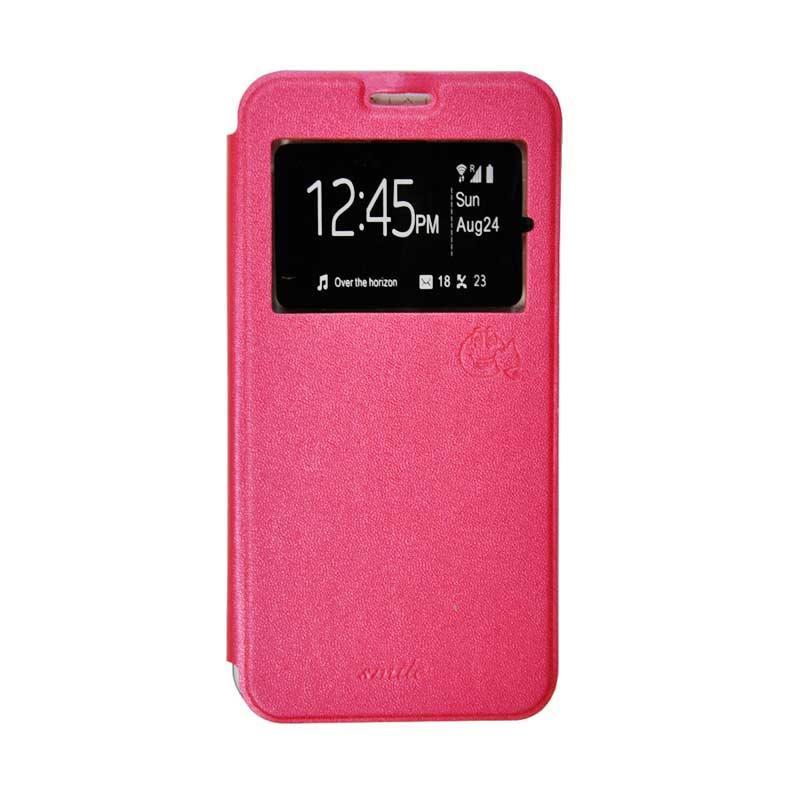 SMILE Flip Cover Casing for Oppo Joy - Hot Pink