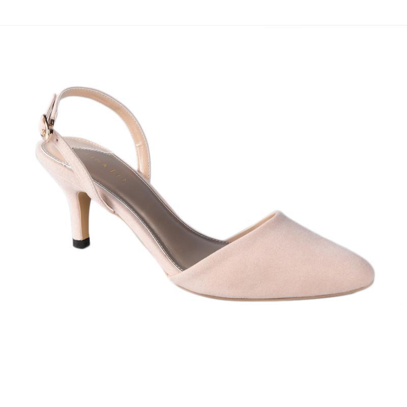 Lina Lee Vivi Mid Low Heels Sepatu Wanita - Cream