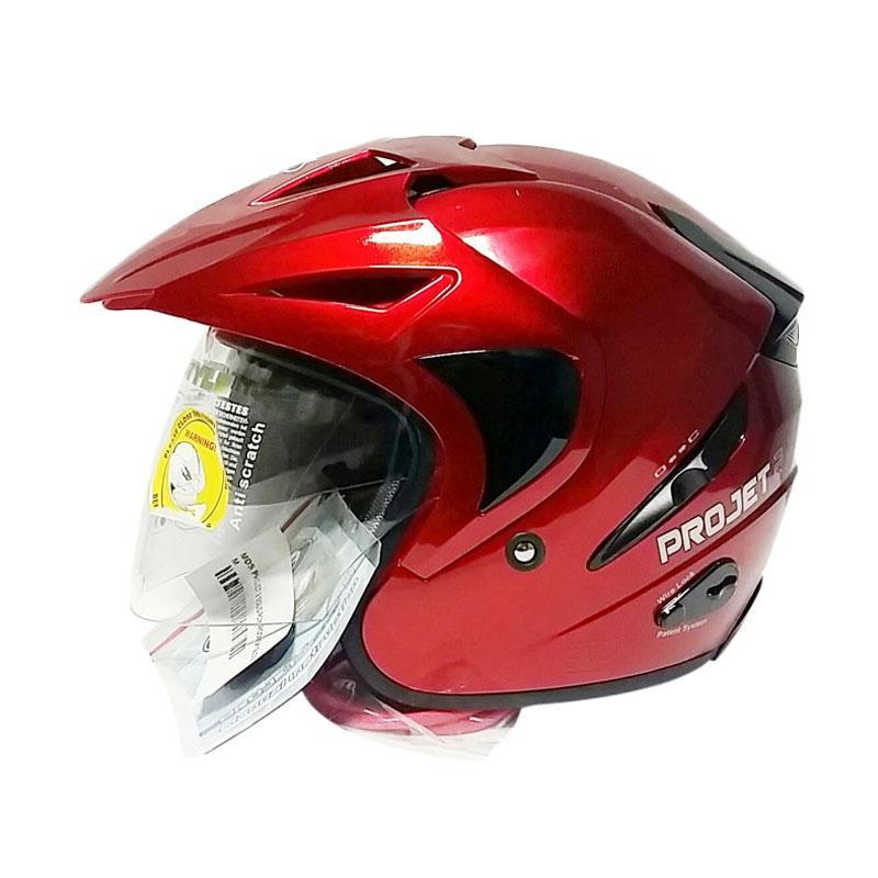 harga MDS Projet 2 Helm Half Face - Red Maroon Metallic Blibli.com