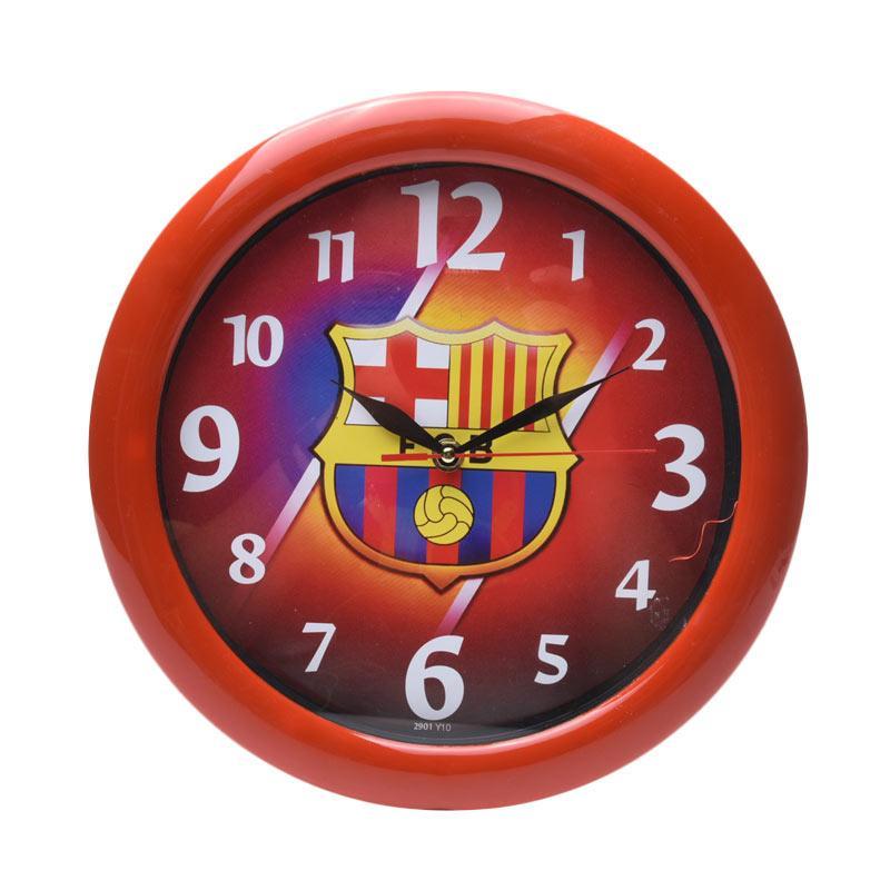 TJ y 10 Motif Barcelona Jam dinding - Ring Merah[29cm]