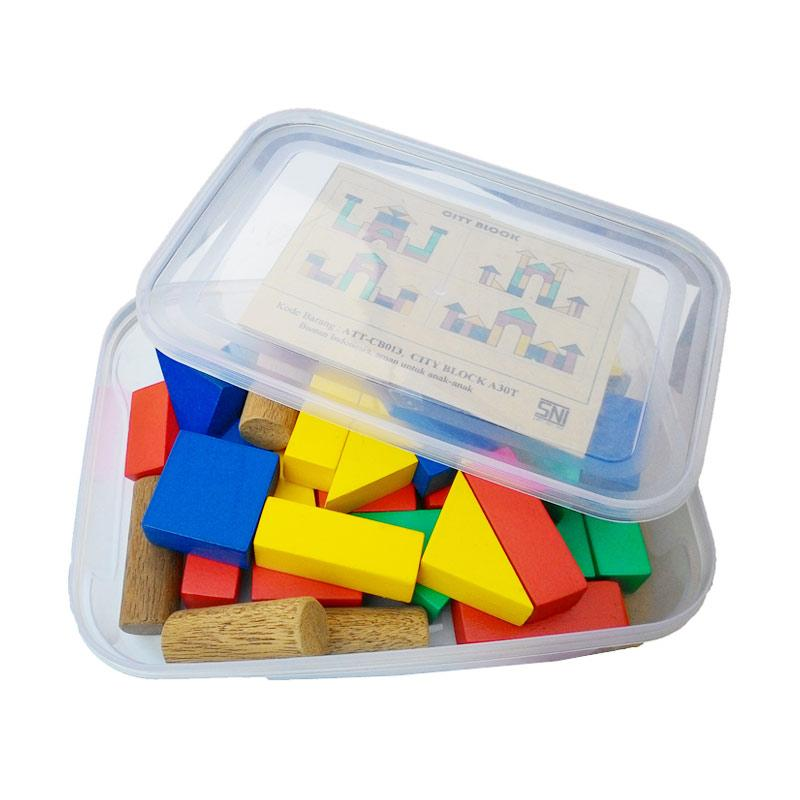 Atham Toys A30T Balok Bangun Mainan Kayu Edukatif