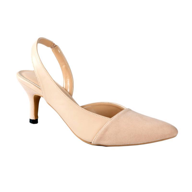 Lina Lee Celly Sepatu Mid Low Heels - Cream
