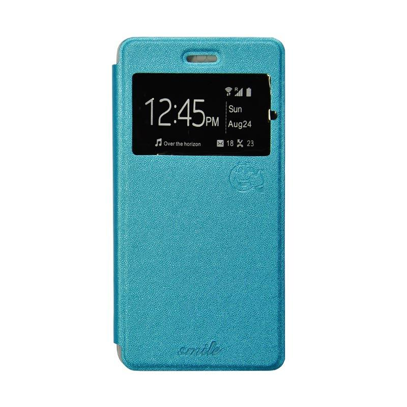 SMILE Flip Cover Casing for Oppo Joy - Biru Muda