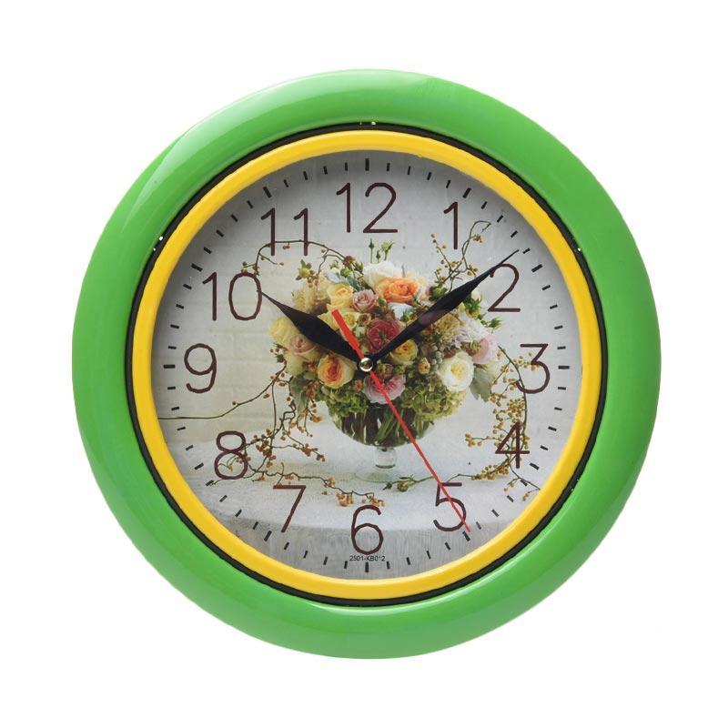 TJ KB 12 Motif Flower Jam Dinding - Ring Green [25cm]