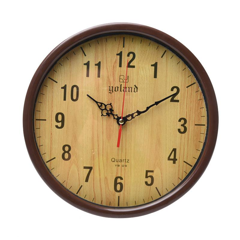 Yoland Numberic YB09 Jam Dinding - Brown [30 cm]