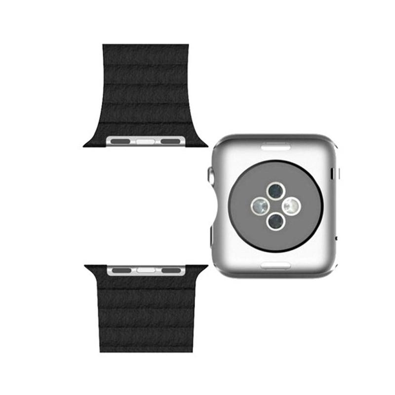 LOLLYPOP Strap Leather Loop Band for Apple Watch 38mm - Black