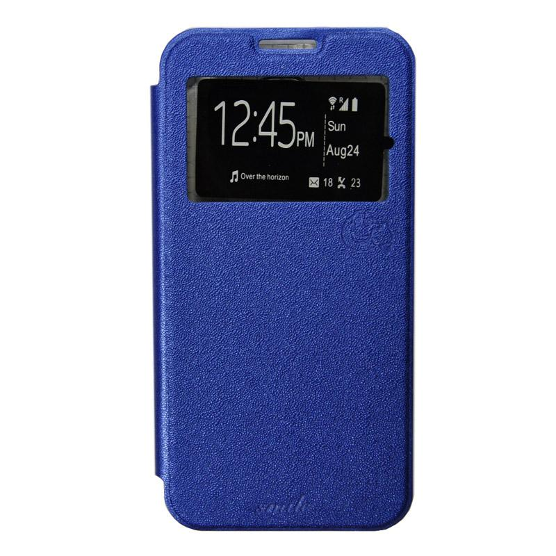 Smile Flip Cover Casing for Xiaomi mi4i - Biru Tua