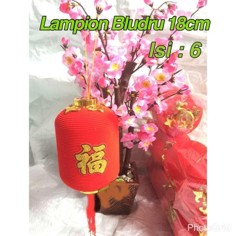 Lampion Imlek Lampion Bludru Lonjong 18cm Isi 6 Pc