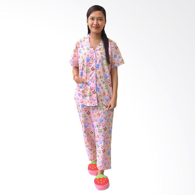 Aily SL007 Setelan Baju Tidur Piyama Wanita - Pink